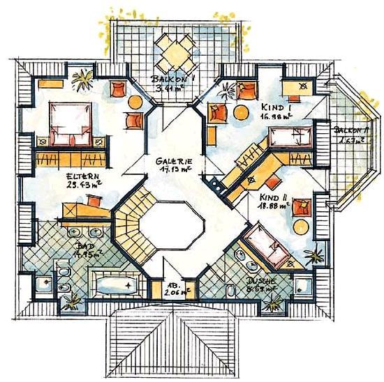 Das Obergeschoß Ist über Dem Erdgeschoß Im Sind Drei Schlafzimmer Zwei Badezimmer Und Balkone Treppe Von Unten In Der Mitte